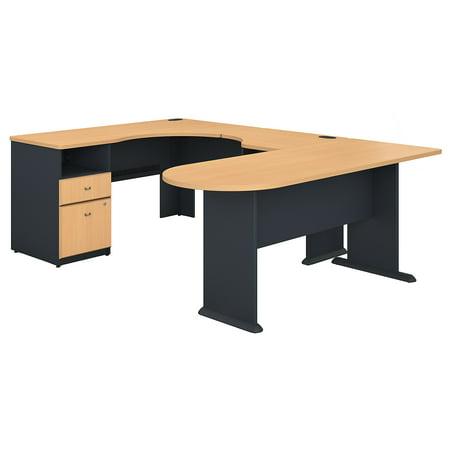 SRA037BE Bush Business Furniture Series A Returns & Bundles 270 Lbs Weight Capacity Engineered Wood Single 2 Drawer Pedestal Corner Desk U-Station