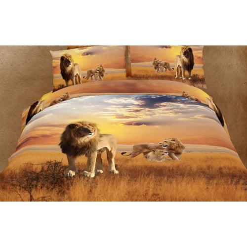 Dolce Mela Dolce Mela African Lions 6 Piece Reversible Duvet Cover Set