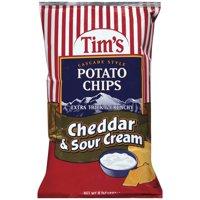Tims Extra Thick & Crunchy Cheddar & Sour Cream Potato Chips 8 Oz.