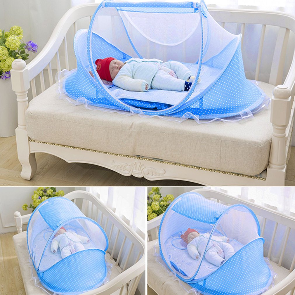 4 Pcs Comfortable Baby Bed Portable Folding Mosquito Net Newborn Sleep Bed Travel Bed Pillow Set For 0-3 Years, Blue