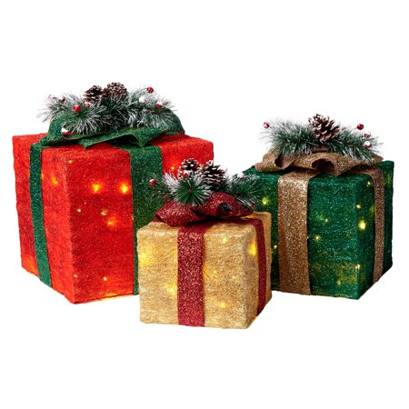 holiday time light up led sisal gift boxes 3 count