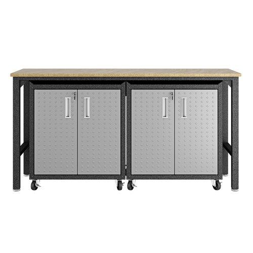 Manhattan Comfort 3-Piece Fortress Mobile Space-Saving Steel 1.0 Garage Cabinet