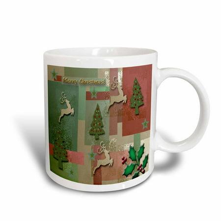 3dRose Merry Christmas, Reindeer and Trees , Ceramic Mug, - Ceramic Reindeer