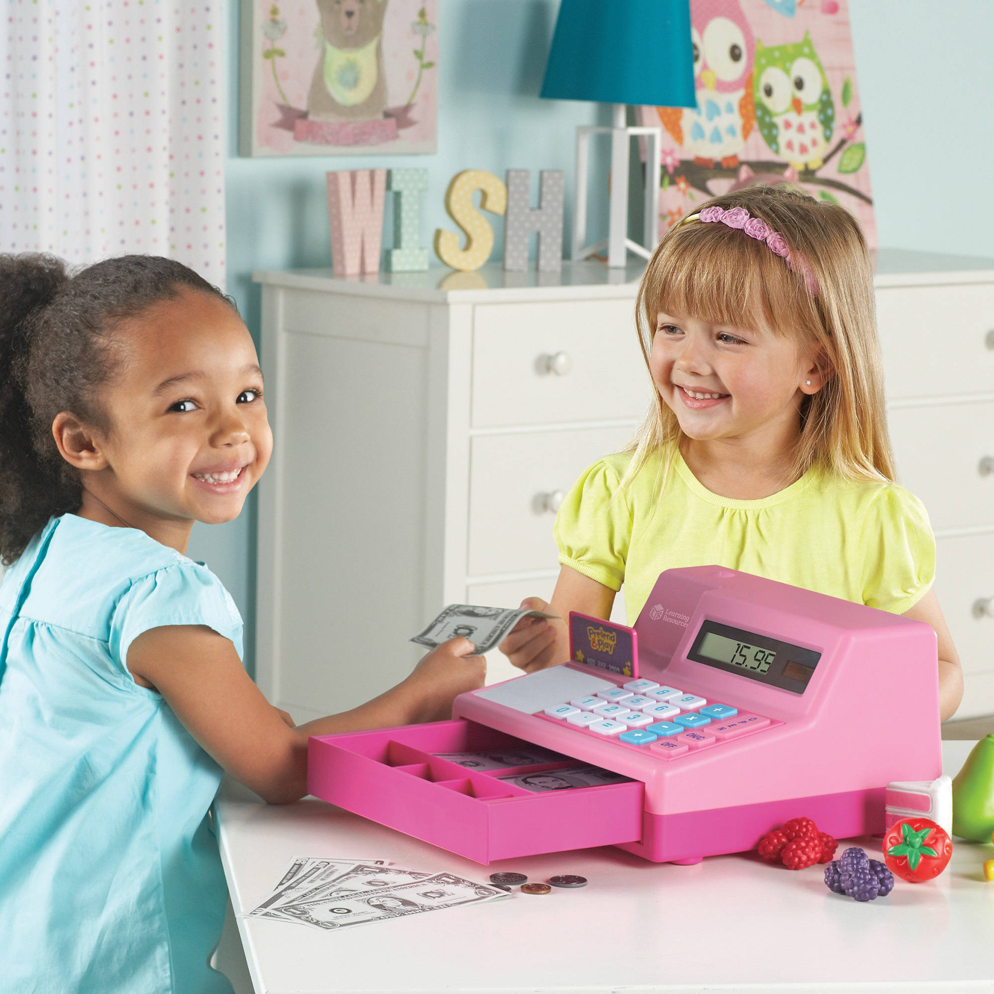 Learning Resources Pretend and Play Calculator Cash Register Pink