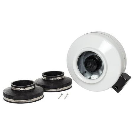 ValuLine Fans OEM OEM 8'' 120v Fan, White w/Rubber Pipe Reducers (Fan In The Pipe)