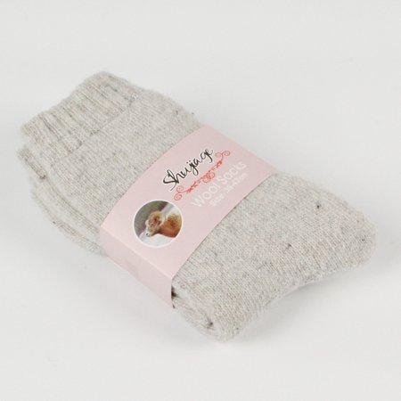 1 Pairs Womens Wool Rabbit Hair Warm Thick Soft Fashion Boot Socks Knit Solid Color Socks Light grey
