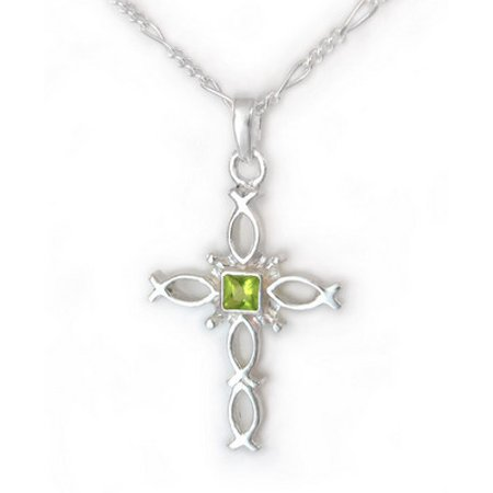 Sterling Silver Ichthus Fish Cross Birth Crystal Necklace, August Green ()