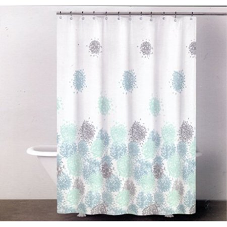 DKNY Brushstroke Floral Reef Blue Fabric Shower Curtain