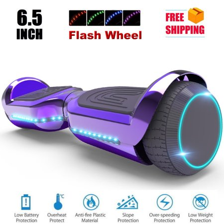 Back To Future Hoverboard (6.5'' Hoverboard with Front/Back LED with Bluetooth Speaker, Self-Balance Flash Wheel, UL Chrome)