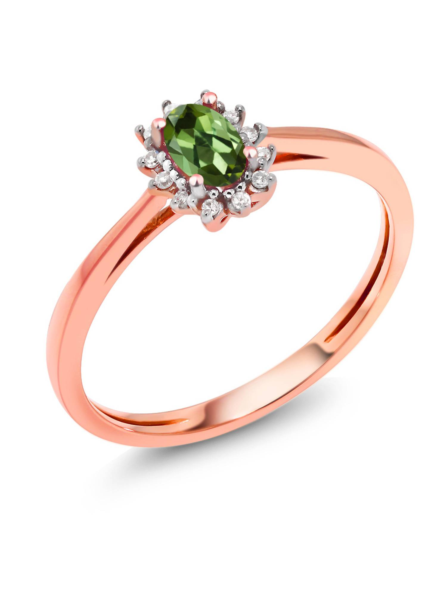 18K Rose Gold 0.08 Ct Green Tourmaline with Diamond Accent Engagement Ring by