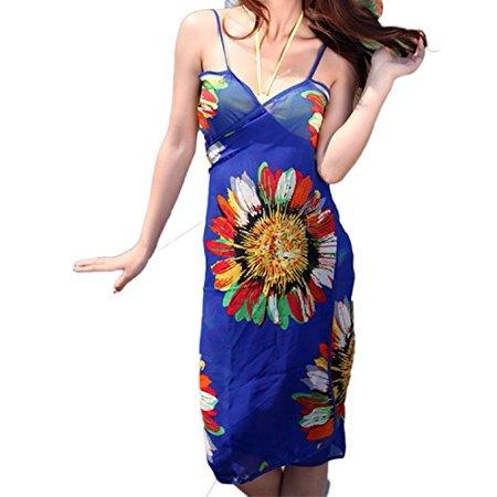 Lian LifeStyle Women's Bikini Swimsuit Swimwear Cover Up Beach Dress Bathing Suits (Blue) - Mod Suit Style