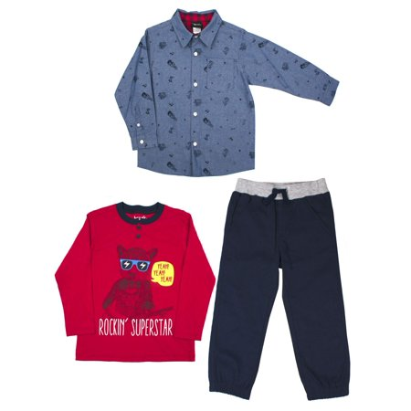 Woven Button-up Shirt, Long Sleeve T-shirt & Jogger Pants, 3pc Outfit Set (Baby Boys & Toddler - Minion Dressing Up Outfit