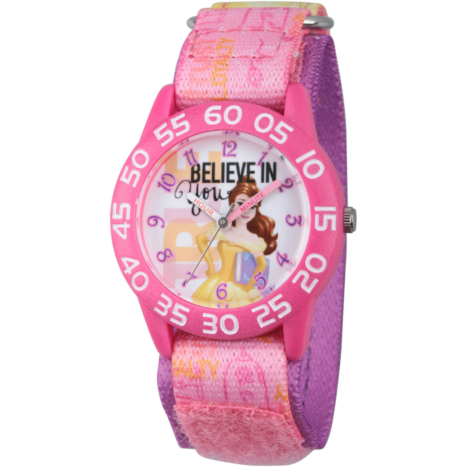 Disney Princess Belle Girls' Pink Plastic Time Teacher Watch, Pink Hook and Loop Stretchy Nylon Strap with Printed Belle