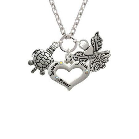 Antiqued Sea Turtle Believe Faith Prayer Heart and Angel Zoe - Sea Turtle Necklace