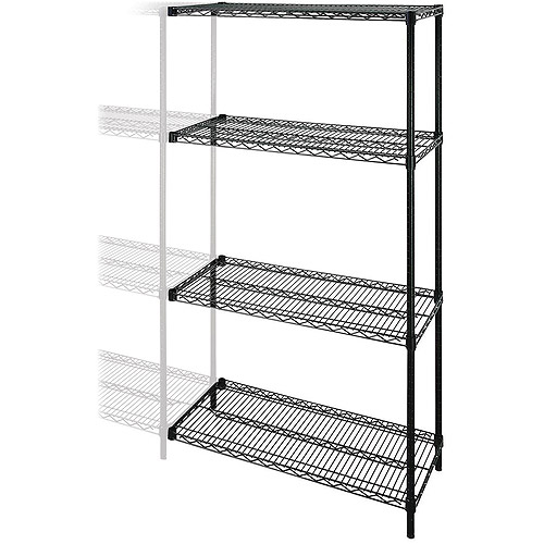 Lorell Industrial Adjustable Wire Shelving Add-On-Unit, Black