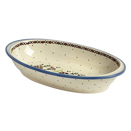 Polish Pottery Watercolor Flowers Handmade Oval Vegetable Bowl (11-inch) (Oval Divided Vegetable Bowl)