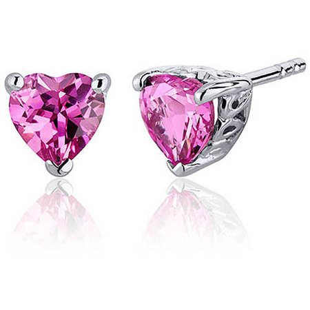 2.00 Carat T.G.W. Heart-Shape Created Pink Sapphire Rhodium over Sterling Silver Stud Earrings
