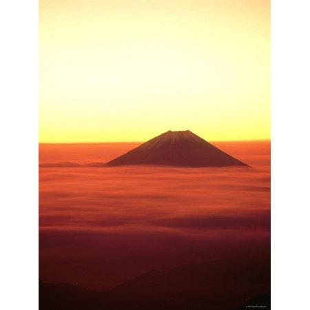 Mt. Fuji Over the Sea of Cloud at Dawn and Viewed from Mitsu-Tohge, Yamanashi, Japan Print Wall