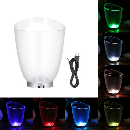 4L High Capacity 4 LED RGB Light Lamp Ice Bucket Curve Design Automatic Color Changing/ Static Color Battery Powered/ USB Operated IP65 Water Resistance for Home Party Bar Theme Restaurant Pub Wine D