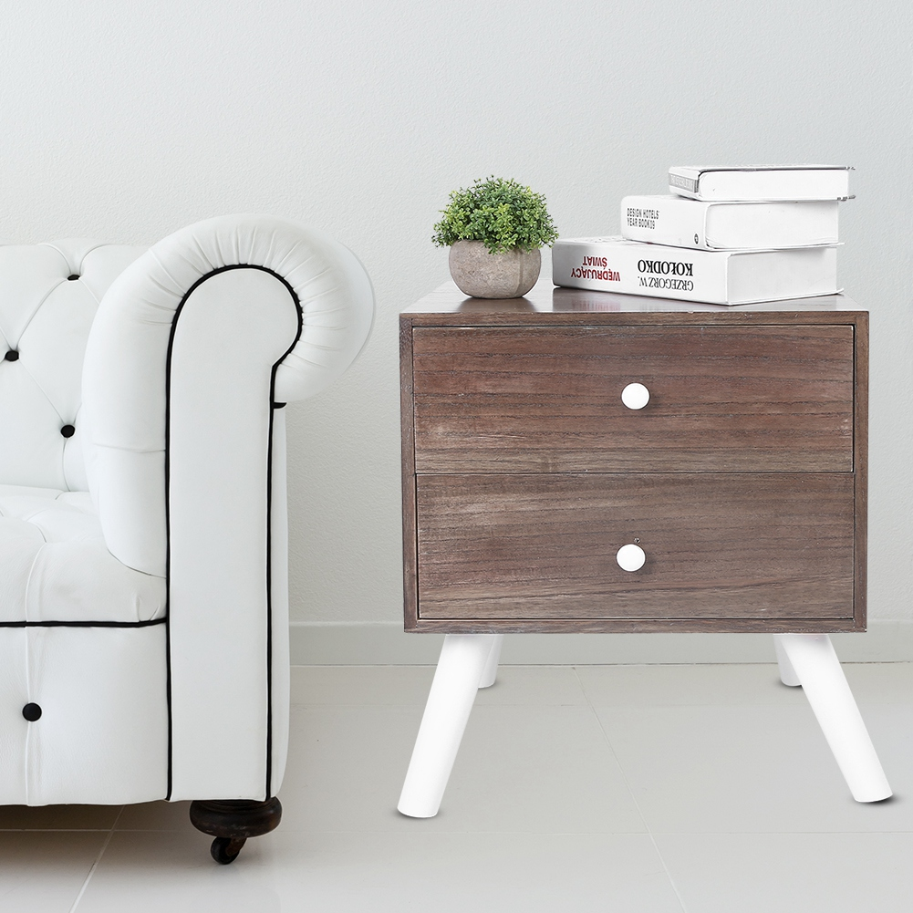 NEW Modern Stylish White And Wood Sturdy 2 Drawer Bedside Storage Cabinet Table