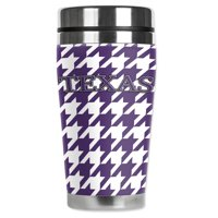 """Mugzie brand 20-Ounce """"MAX"""" Stainless Steel Travel Mug with Insulated Wetsuit Cover - Colors of Kansas Houndstooth"""
