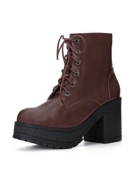 ff57512dd839 Product Image Unique Bargains Women s Lace Up Platform Chunky Heel Ankle  Combat Boots Coffee Color (Size 5