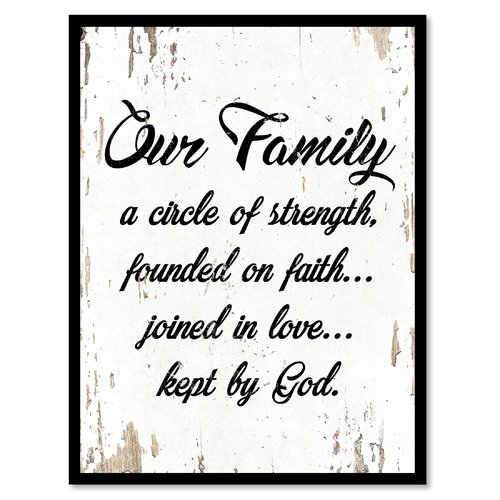 Winston Porter 'Our Family a Circle of Strength Founded on Faith Joined in Love Kept By God' Framed Textual Art on Canvas