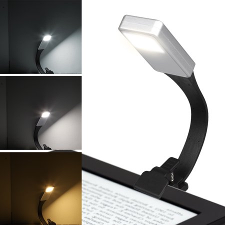 LED Reading Light, TSV USB Rechargeable Book Light, 3-level Brightness and Flexible Easy Clip On Reading Lamp, Eye Protection Brightness, Soft Silicone Light for Night Reading,