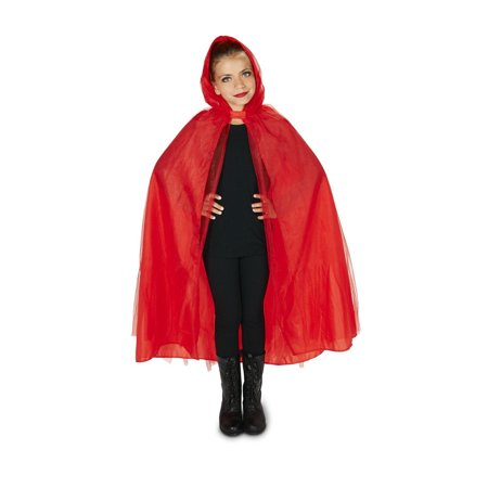 Hooded Lined Red Mesh Child (Mesh Lined Cape)