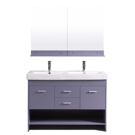 Strange Totti Gloria 48 Grey Double Sink Bathroom Vanity Download Free Architecture Designs Ferenbritishbridgeorg