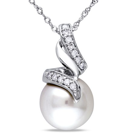 9.5-10mm South Sea Cultured Pearl and 1/10 Carat T.W. Diamond 14kt White Gold Drop Pendant, (Diamond Drop Pendant)