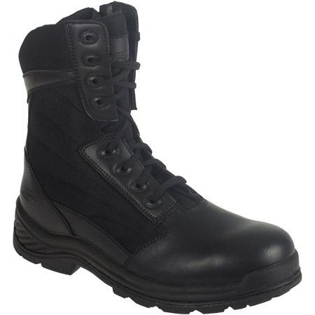 Mens 8 Side Zipper Tactical Boots  Black Leather  Nylon  11 5 W By Knapp