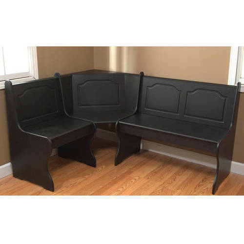 Breakfast Nook 3 Piece Corner Dining Set, Black Image 2 Of 4