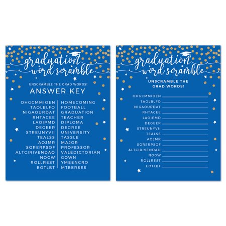 Royal Blue and Gold Glittering Graduation, Word Scramble Game Cards, - Gold And Royal Blue