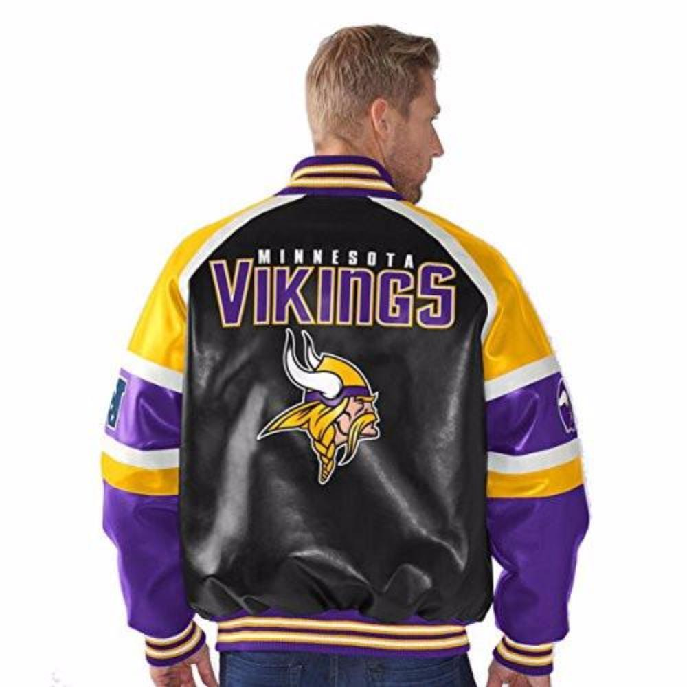 Minnesota Vikings Faux Leather Button up Jacket Men's by G-III Sports