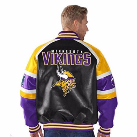 Minnesota Vikings Faux Leather Button up Jacket Men's