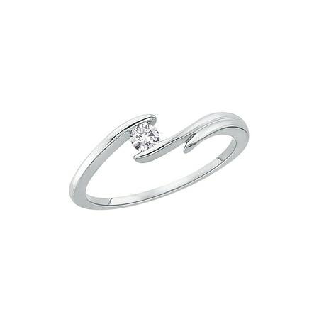 Channel Set Diamond Promise Ring in 14K White Gold (1/10 cttw, G-H, I2-I3) Channel Diamond Comfort Promise Ring