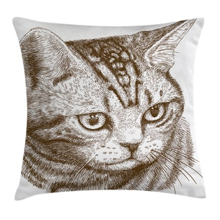 Cat Throw Pillow Cushion Cover, Portrait of a Kitty Domestic Animal Hipster Best Company Fluffy Pet Graphic Art, Decorative Square Accent Pillow Case, 18 X 18 Inches, Chocolate White, by
