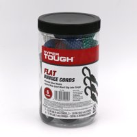 Hyper Tough 6 pcs Flat Bungee Cord, Packed in Plastic Jar