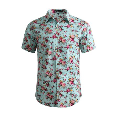 Fleur Button Front Shirt - Men Short Sleeve Button Front Floral Print Cotton Beach Hawaiian Shirt Mint/L (US 44)