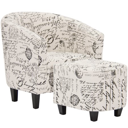 Modular Overstuffed Upholstered Chair - Best Choice Products Modern Contemporary Upholstered Barrel Accent Chair w/ Ottoman - White French Print