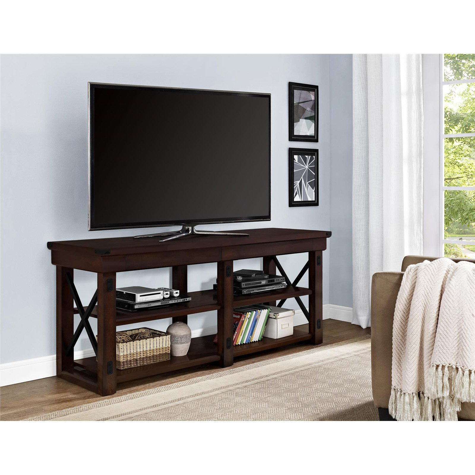 "Ameriwood Home Wildwood Wood Veneer TV Stand for TVs up to 50"" Wide, Espresso"