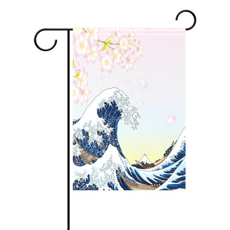 Image of POPCreation Japanese Style Ocean Wave Garden Flag Cherry Blossom Sakura Outdoor Flag Home Party 12x18 inches