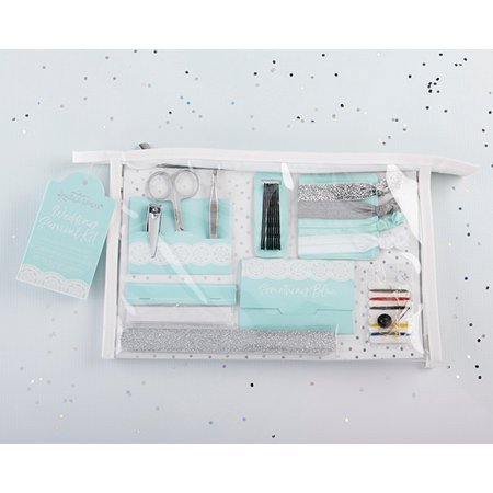 Something Blue Survival Kit Everything you need to survive the big day is inside Kate Aspen's Something Blue Survival Kit! The emergency wedding kit includes a manicure set, nail file, 4 hair ties, 8 bobby pins, clothing tape strip, 12 oil absorbing wipes, and a sewing kit, so you're always prepared for whatever the day may toss your way! The perfect bridal party thank you gift, the Something Blue Wedding Day Survival Kit has you and all of your girls covered! Features and facts:Set includes manicure set with silver scissors, nail clippers, and tweezers, a silver glitter nail file, 4 elastic hair ties on cardstock card with silver glitter, silver, blue, and white, 8 black bobby pins on cardstock card, white clothing tape strips, 12 oil absorbing sheets, and a sewing kit with threads, needle, safety pin, and 2 buttons.Sold individuallyMeasures 10.23  w x 2.08  d x 6.69  hPackaged in clear vinyl cosmetics bag with tag