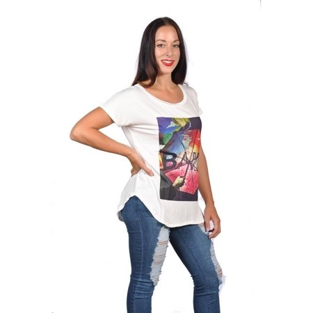7ee1464bece Womens Fashion Multi Color with Bang print Plus Size Graphic Tees Top -  Walmart.com