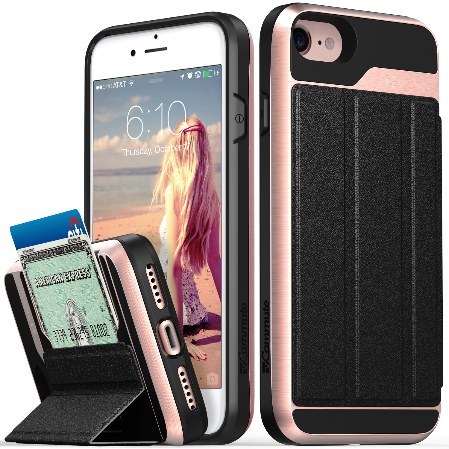 iPhone 8 Wallet Case, iPhone 7 Wallet Case, Vena [vCommute][Military Grade Drop Protection] Flip Leather Cover Card Slot Holder with KickStand for Apple iPhone 8 / iPhone 7 (Rose Gold / Black)