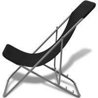 HERCHR Folding Beach Chairs 2 pcs Powder-coated Steel Black