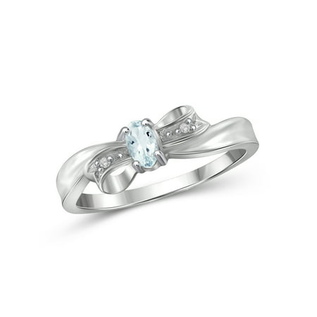 Silver Box Ring - 1/4 Carat T.G.W. Aquamarine And Accent White Diamond Sterling Silver Bow Ring