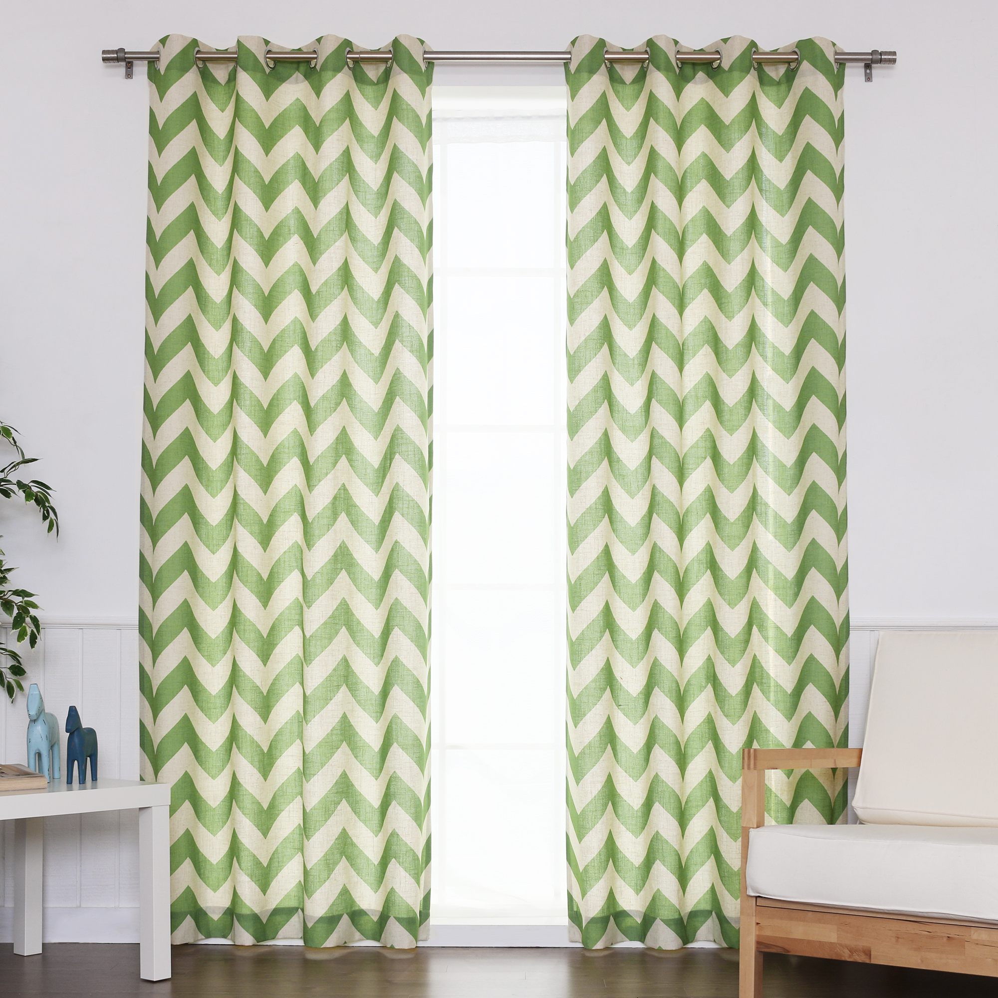 "Quality Home Flex Linen Blend Chevron Nickel Grommet Curtains - Green - 52"" x 96"" (Set of 2 Panels)"