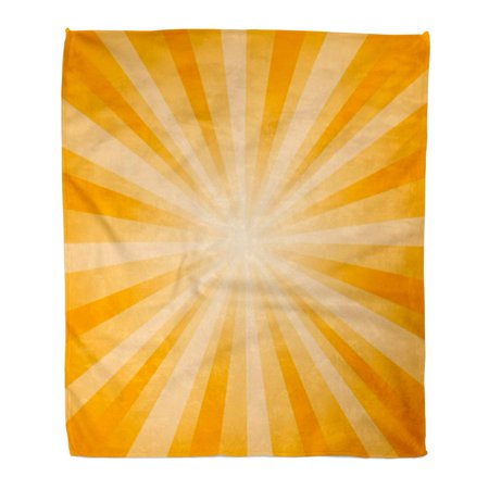 POGLIP Flannel Throw Blanket Yellow Burst Abstract Orange Rays CMYK Star Sunburst Beam Soft for Bed Sofa and Couch 58x80 Inches - image 1 de 1